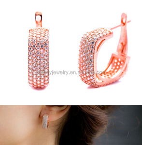 rose Gold cubic zirconia gold plated huggie hoops micro pave cz square hoop classic gold earring designs for women