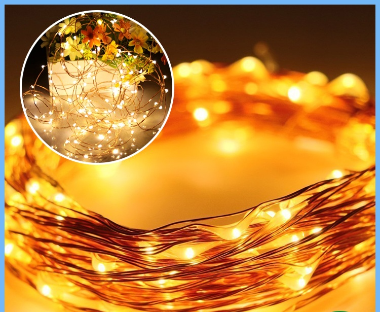 Solar Powered Christmas Decoration Pathway Lights Led Cooper Wire String Lights