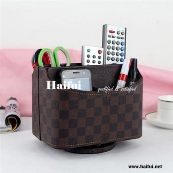 Wholesale Fashion Desktop Leather Pu Storage Box Hot Sale Tv Remote Control  Holder
