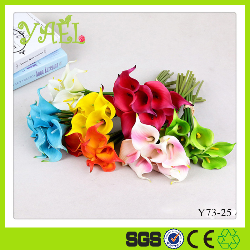 Yiwu Yael 9PCS/Lot Real Touch Glue Coated Artificial Flowers Calla Lily