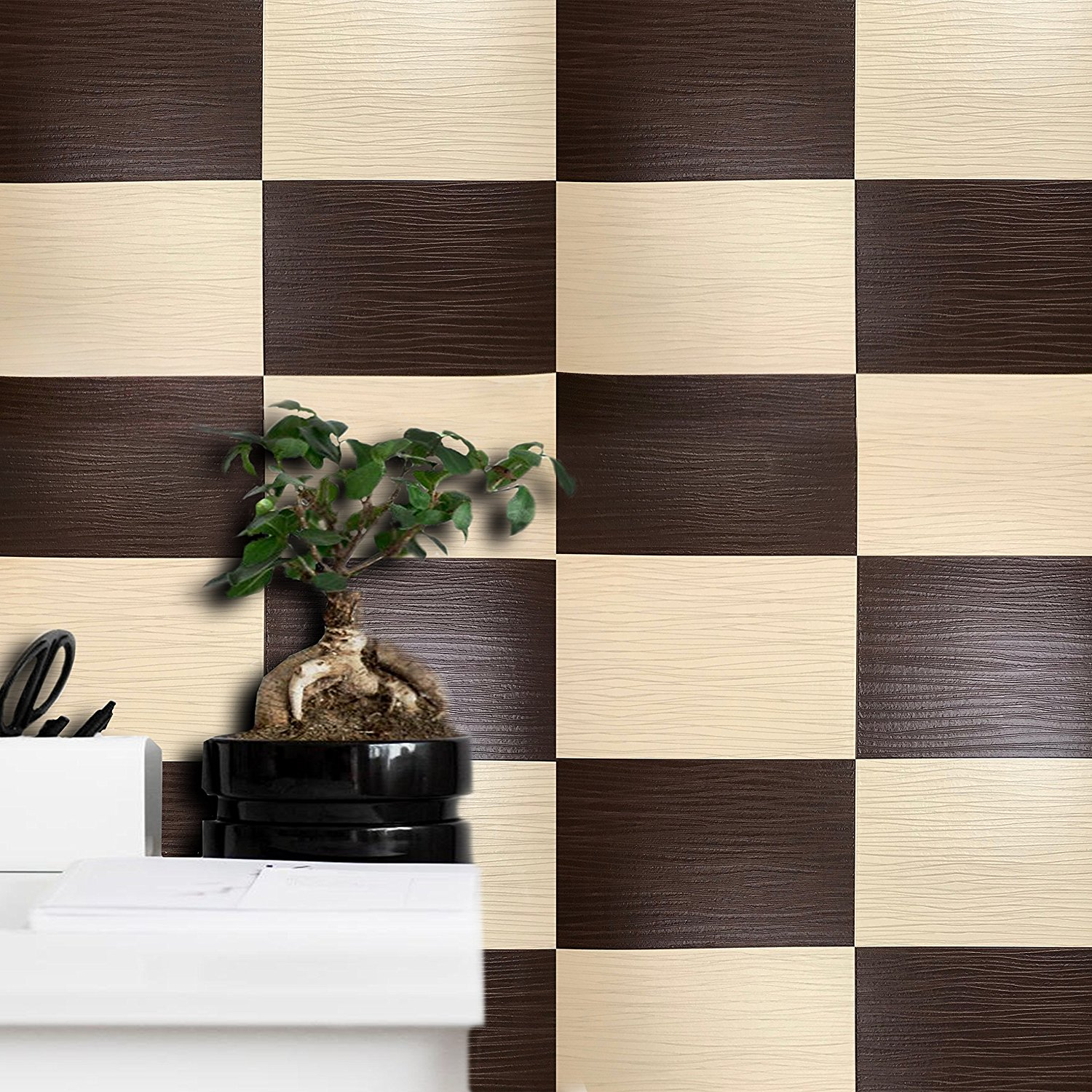 Slavyanski European vinyl wallpaper textured faux leather imitation modern wallcoverings double rolls patterned coverings textures wall decor 3D modern tiles pattern brown & beige tile 3D vintage styl