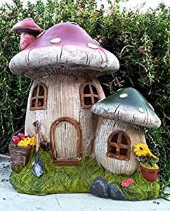 Beau Garden Decor Mushroom Toadstool Solar Houses Statue With Soft White LED  ,,#id(