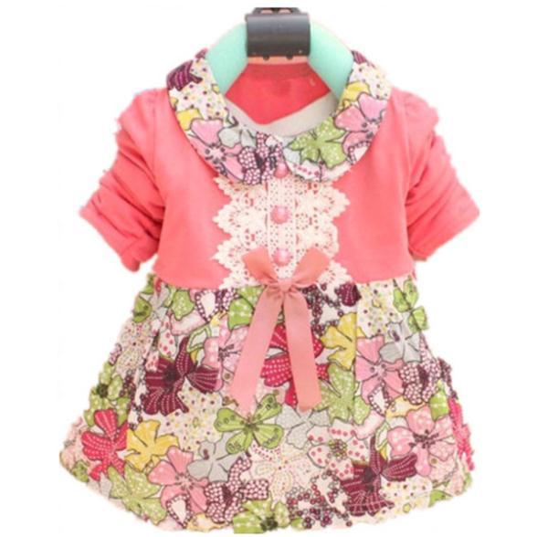 Новый прекрасный 0-2Y дети девочки с бантом цветочные платье платье принцессы