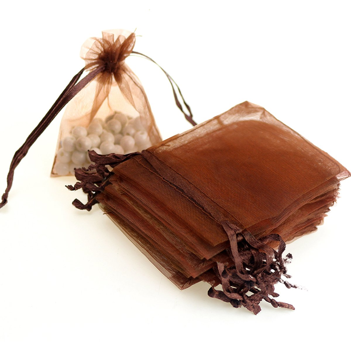 """AKStore 100PCS 4x6"""" (10x15cm) Drawstring Organza Jewelry Favor Pouches Wedding Party Festival Gift Bags Candy Bags (Brown)"""