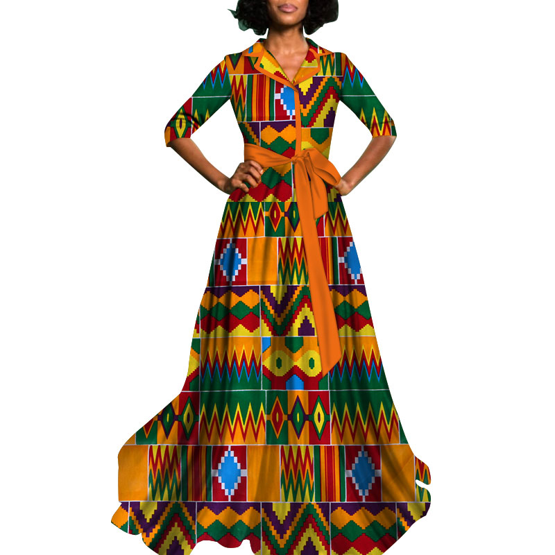 2018 African Dress for Women Dashiki Cotton Batik Sexy Long Dress Traditional clothing WY822