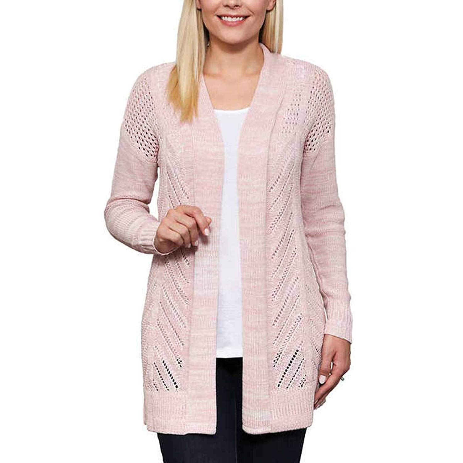 28481b74a77 Leo and Nicole Womens Cardigan Long Sleeve Open Front Marled Rib Trim  Pointelle Sweater