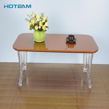 Whole Acrylic Legs One Piece Wood Top Center Tea Table