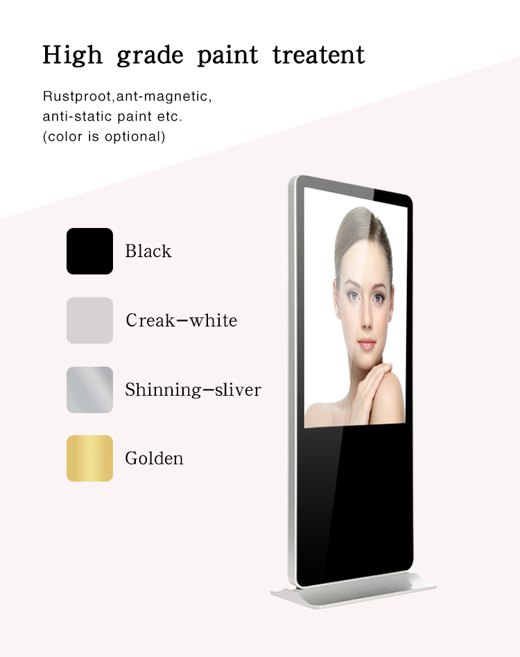 Fabriek koop HD 65 inch vloerstandaard digital signage kiosk touch screen