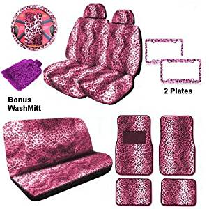 Animal Print Auto Car Truck Set Pink Leopard 18pc Seat Covers Front & Back Lowback, Back Bench, Steering Wheel & Seat Belt Covers, Front & Rear Floor Mats & Set of 2 License Plates Front, Rear & Bonus Detailing WashMitt
