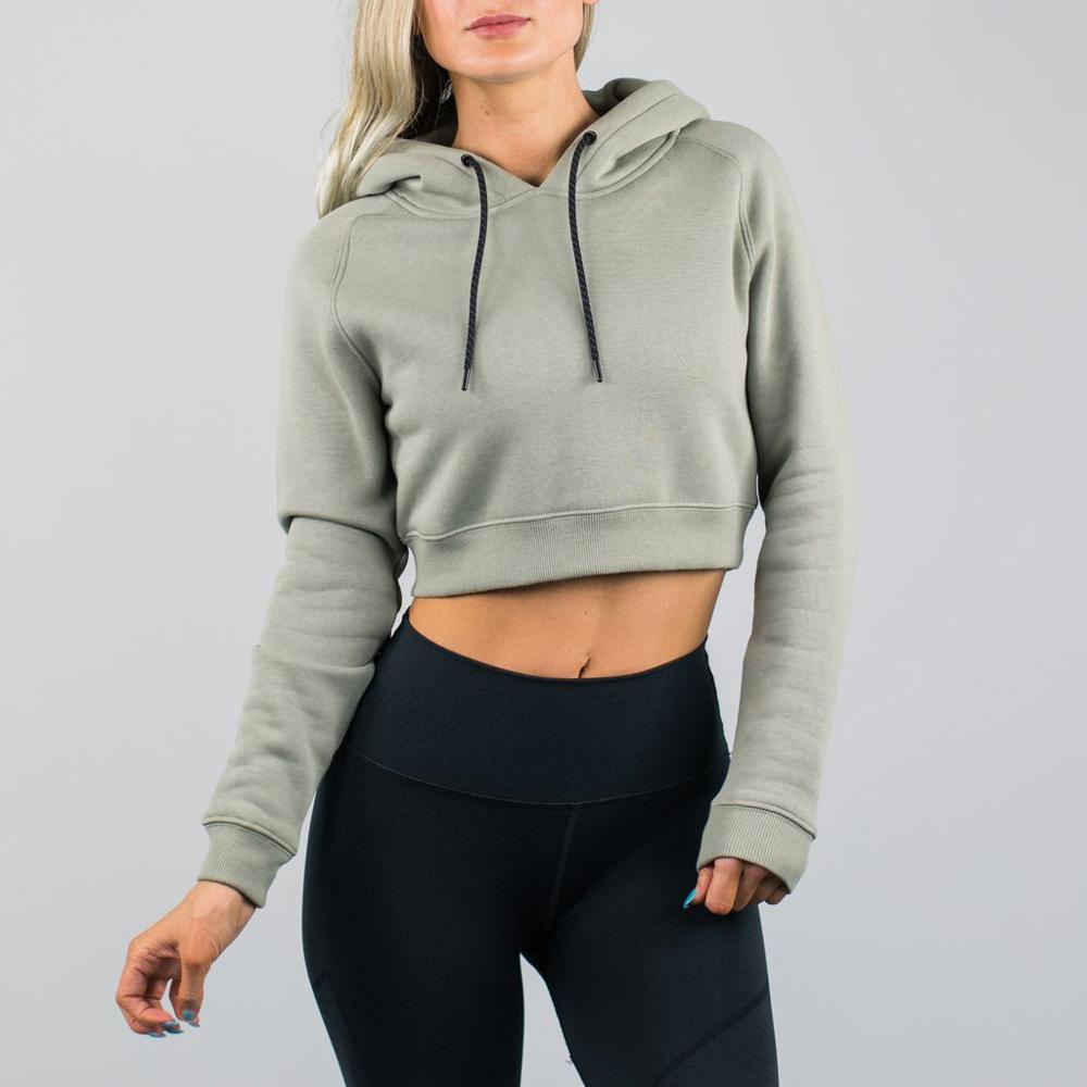 Venta al por mayor streetwear sudaderas mujeres de manga larga crop top gym wear hoodie