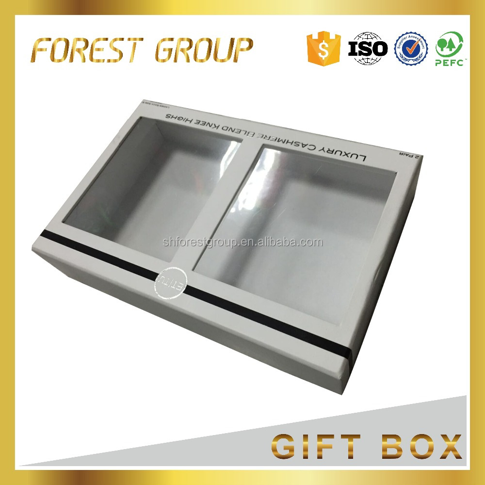 Coated paper custom order accept cardboard box with clear PVC window