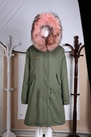 2015 top sale noth online pink with real reccoon furs hood expedition parka jackets