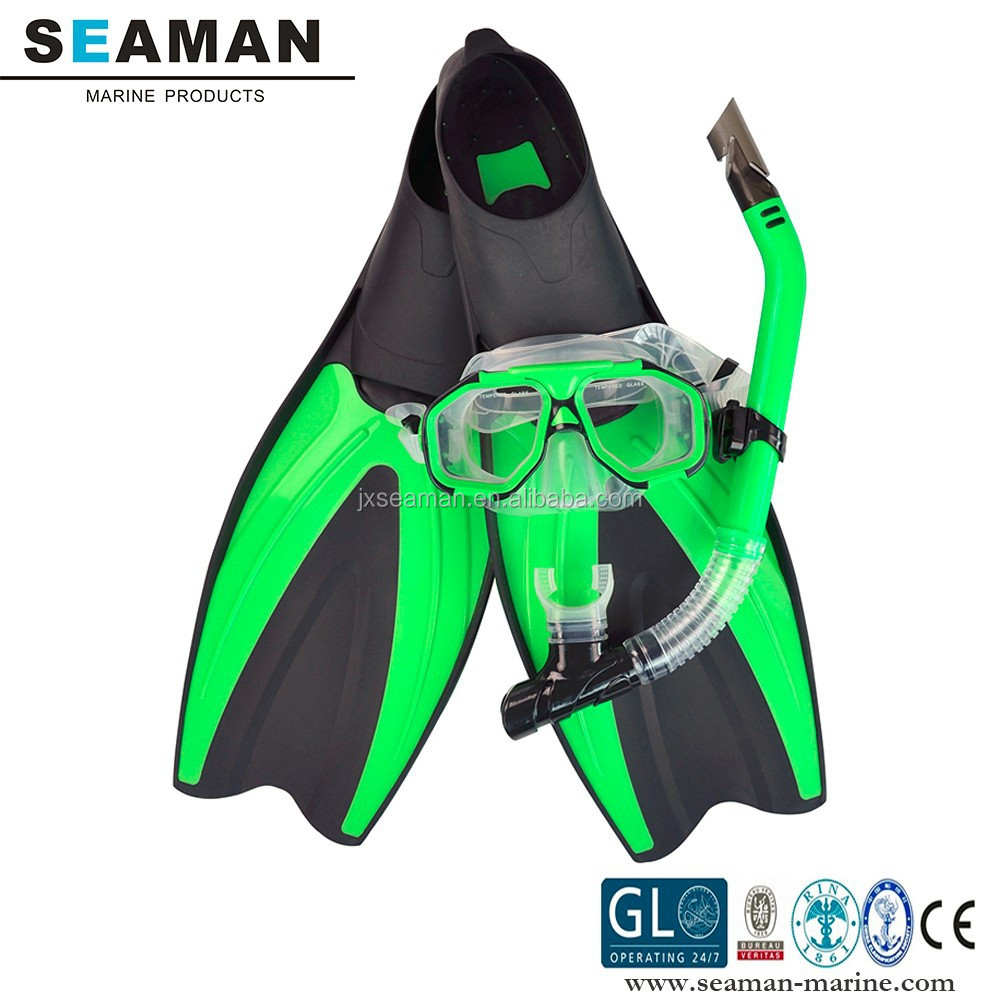 adult bright color silicone swimming skin Diving mask snorkel tube set with 36-47 size fins
