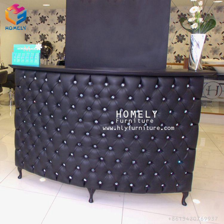 Black Leather Tufted Salon Reception Desks