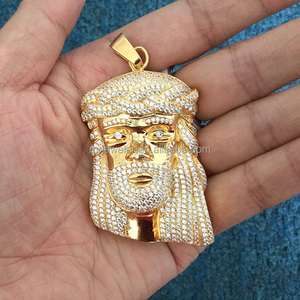 CZ Iced Out Gold Jesus Piece Pendant Designs Men, Gold Jesus Pendant Set Designs