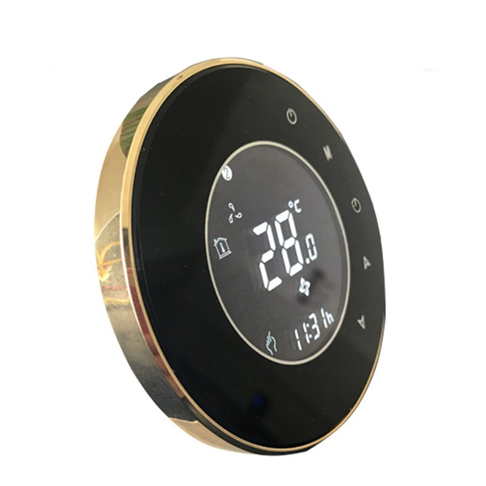 BECA New 95~240VAC Round Data Memory LCD 5 + 2 six periods Weekly Programmable 3A Underfloor Water Heating Room Thermostat (BHT-5000GALTP, Black plus gold)