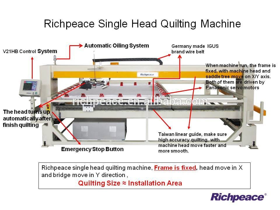 Richpeace single lifting head quilting machine high speed 3000RPM