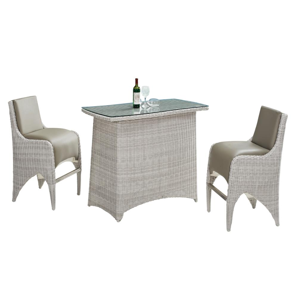 Upholstery pu leather high chair rattan poly rattan waterproof outdoor bar table set