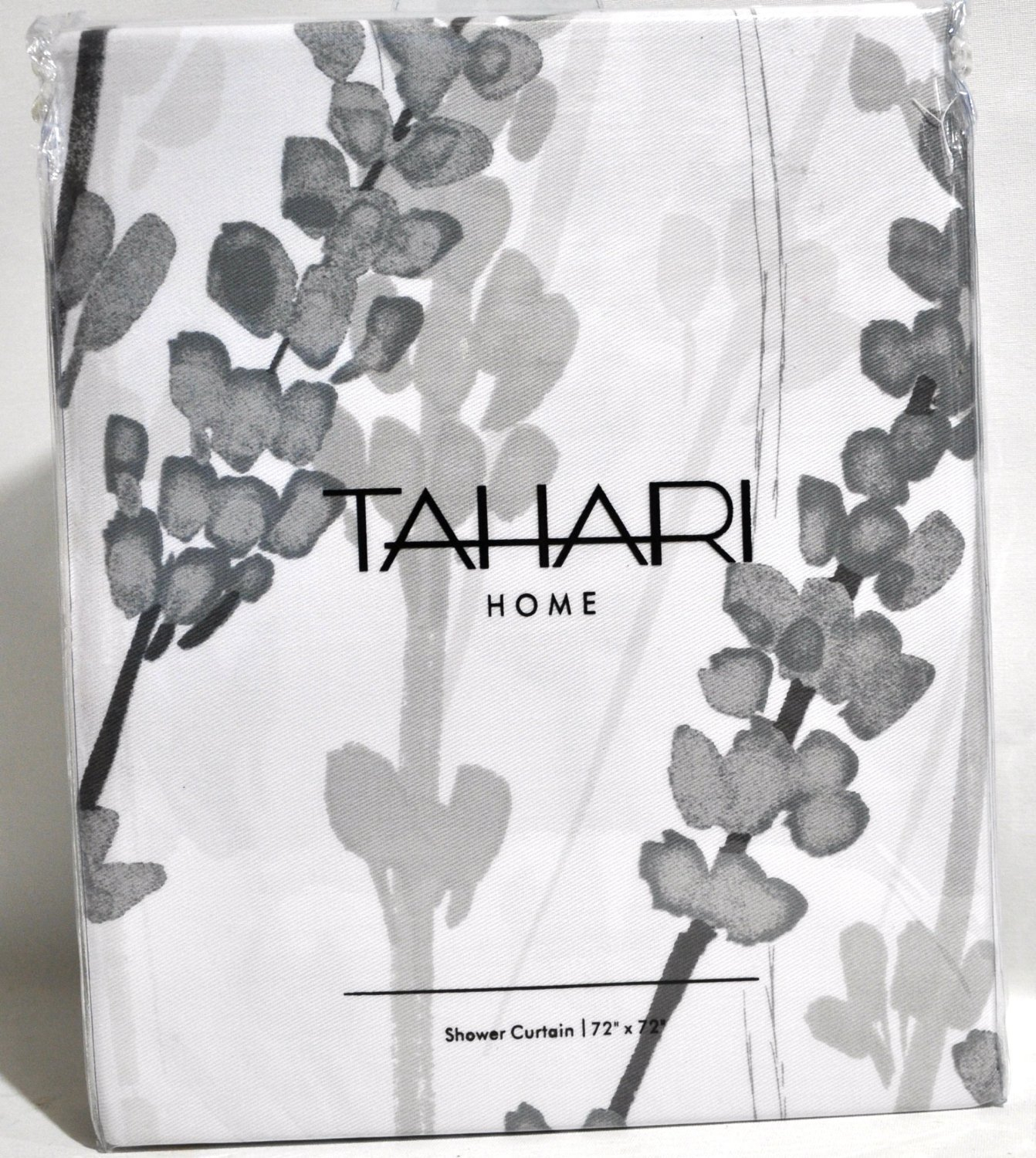 Tahari Luxury Cotton Blend Shower Curtain Printemps Floral Branches Charcoal Grey White Botanical Nature By Home