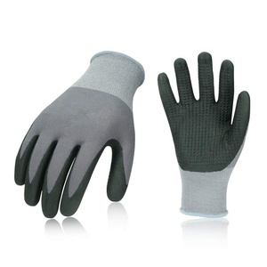 Super Light Micro Foam Nitrile Coating Safety Gardening Working Gloves With PVC Dots