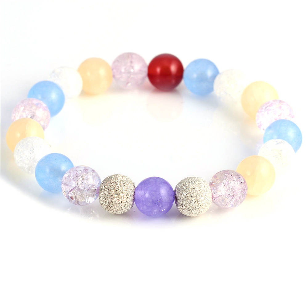 2017 New Fashion Colorful Crystal Stone Bead Silver Bracelets for Women