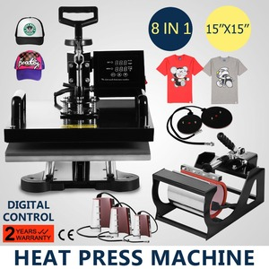 Heat Press Machine 8 in 1 Digital Transfer Sublimation T Shirt Heat Press 15x15 Inch Heat Press for T-shirt Hat Mug Plate Cap