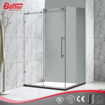 3 panel sliding rectangle frameless glass shower door for Sliding glass door manufacturers