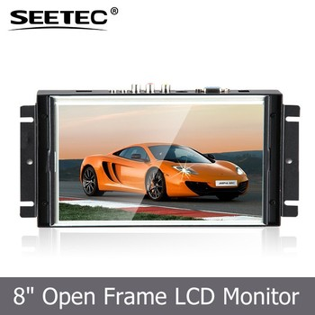 "Audio loop through HDMI VGA AV1 AV2 input 8"" 4-Wire Resistive Touch 5 available customized no frame lcd monitor"