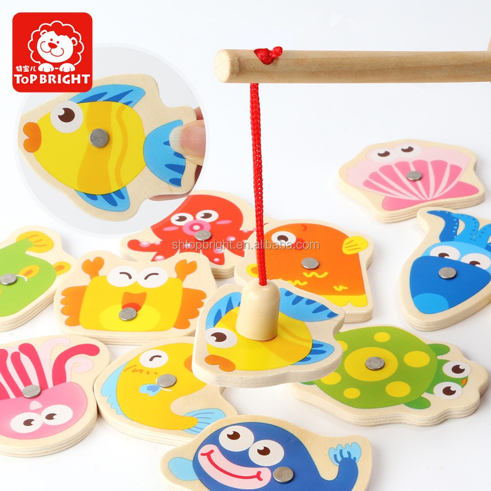 Top Bright BSCI and ICTI manufacturer in China baby wooden magnetic fishing game educational toys EN71 and ASTM