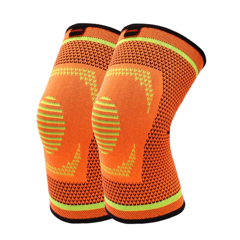 RenShiMinShop Knee Pads Kneepad Warm Breathable Knee Pads Outdoor Fitness Protective Gear Sports Knee Pads high Elastic Anti-Slip Knee Pads 2 Pack (Color : Orange, Size : XL)