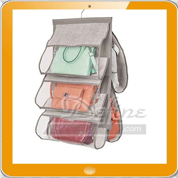 Fabric Hanging Closet Storage Organizer for Purses Handbags Clutches