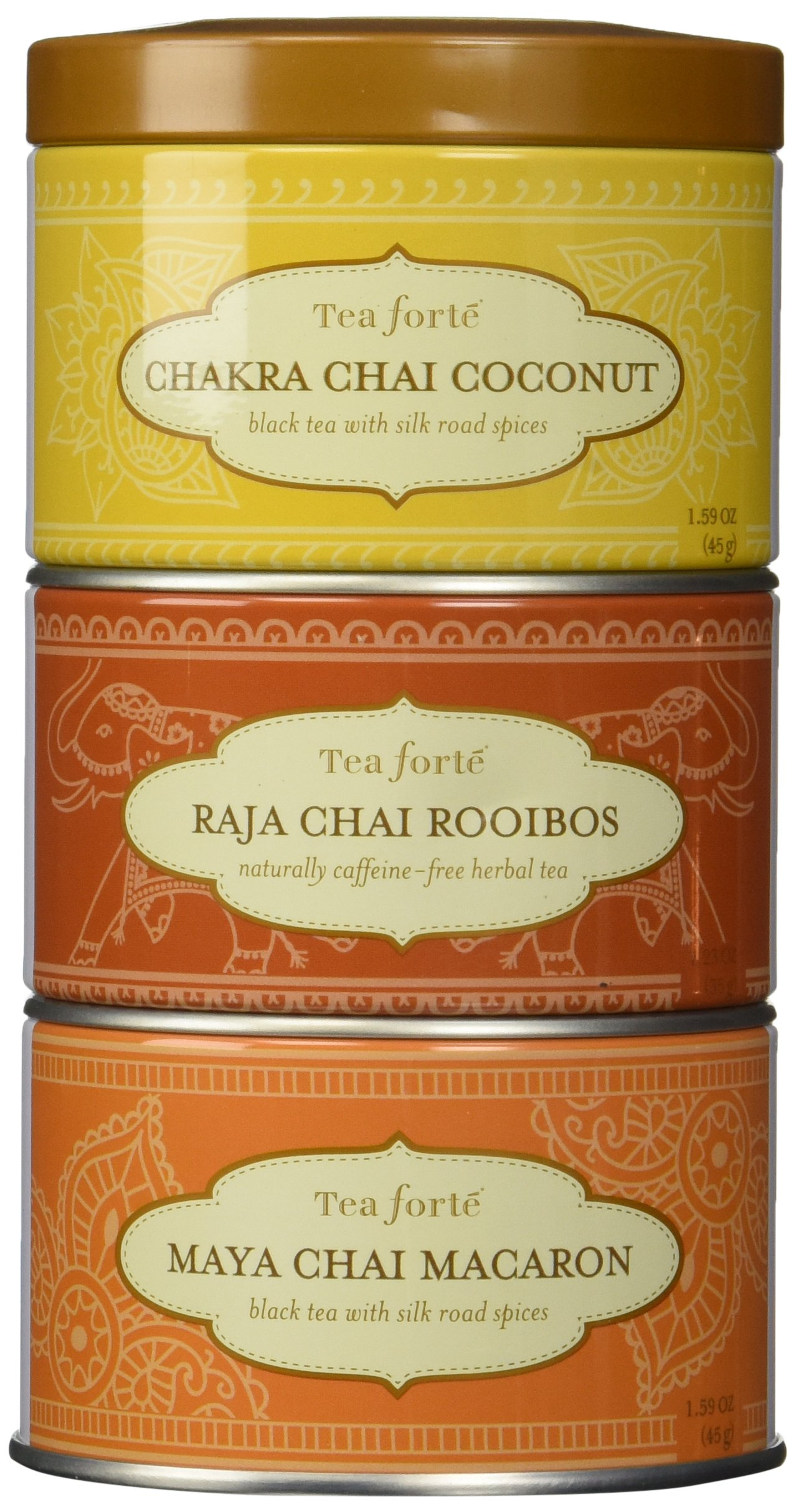 Tea Forte LOOSE LEAF TEA TRIO, 3 Small Tea Tins, Chai Tea Sampler - Chakra Chai Coconut, Raja Chai Rooibos, Maya Chai Macaron
