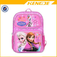 2015 wholesale popular girls lovely pink frozen cartoon printing nylon kids school bag