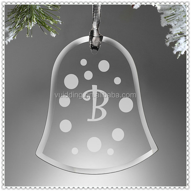 Tree Decorate Glass Hanging Personalized Christmas Bell Ornaments