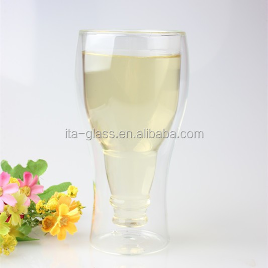 350ml food grade high quality bar party reusuable clear pyrex drinking glass sport water cup with double wall for sale