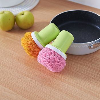 kitchen plastic detachable scrubber cleaning ball with handle