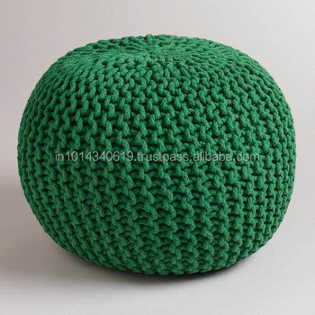 Awe Inspiring Dark Green Knitted Pouf Buy Cotton Knitted Pouf Ottoman Stool Pouf Ottoman Indian Ottoman Pouf Product On Alibaba Com Lamtechconsult Wood Chair Design Ideas Lamtechconsultcom