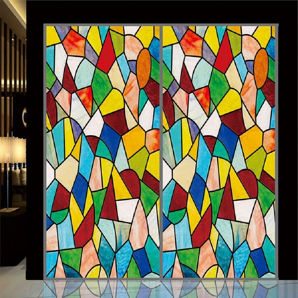 """OstepDecor Custom Translucent Non-Adhesive Frosted Stained Glass Window Films 24"""" W x 72"""" H"""