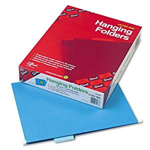 Smead® - Hanging File Folders, 1/5 Tab, 11 Point Stock, Letter, Sky Blue, 25/Box - Sold As 1 Box - Hanging folders keep papers neatly vertical in the file.