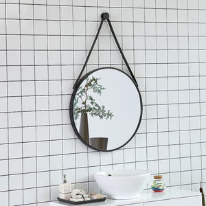 Home Wall Decorative Round Mirror With Leather Strap