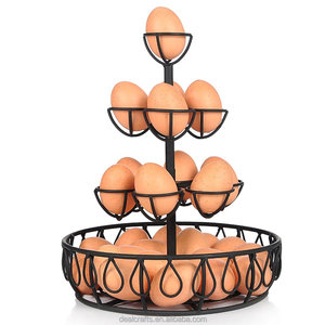 Black Metal Wire Egg Basket w/ 10 Individual Holder And Bottom Tray / Kitchen Display Storage Rack Stand