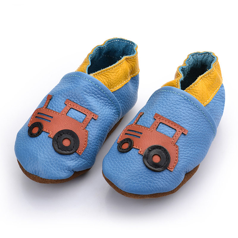 First top layer of leather baby boy & girl shoes flower prewalker toddler wholesale soft cattoon traffic tools for my baby boy