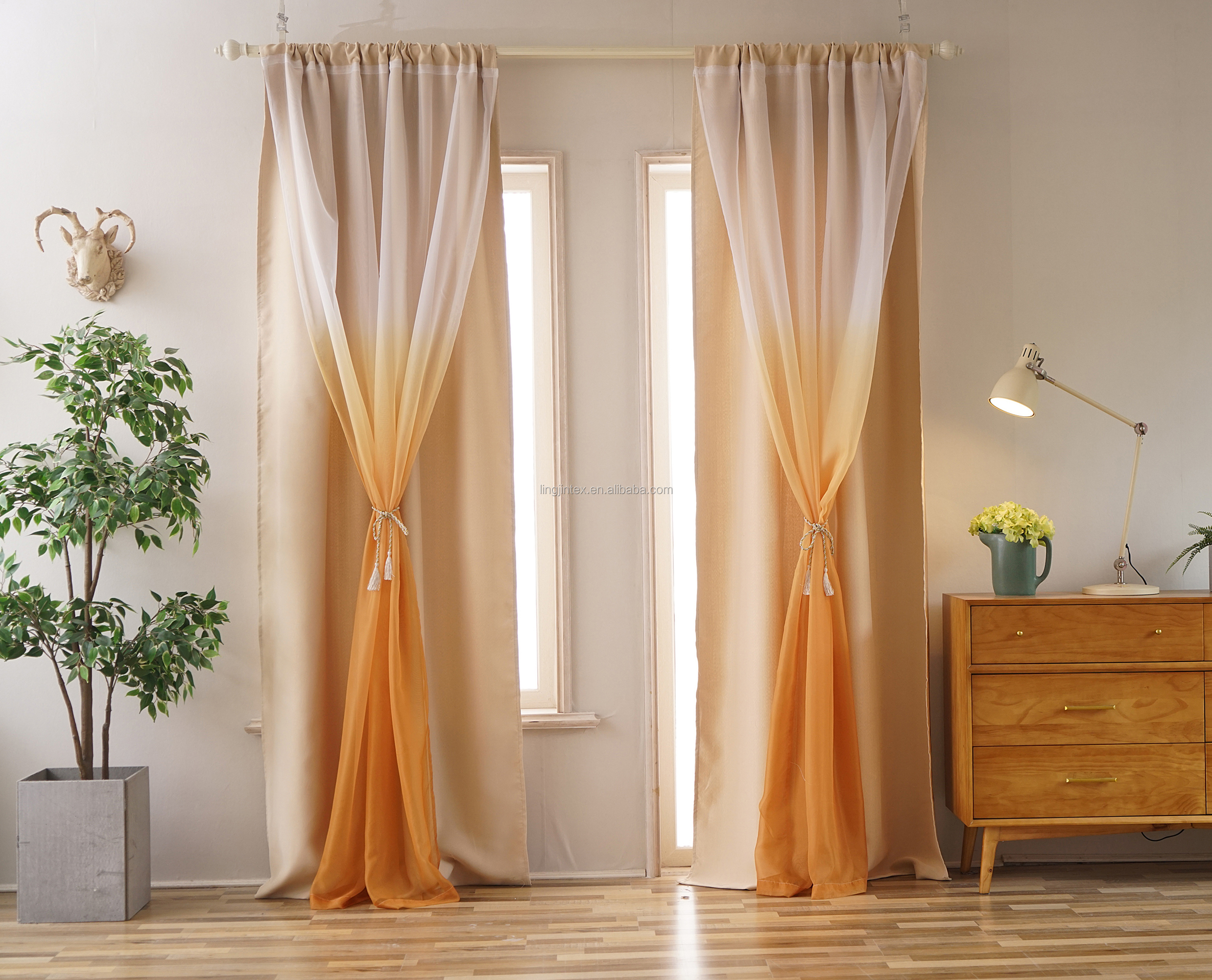 New design blackout curtains for bed room ready made arabic curtain