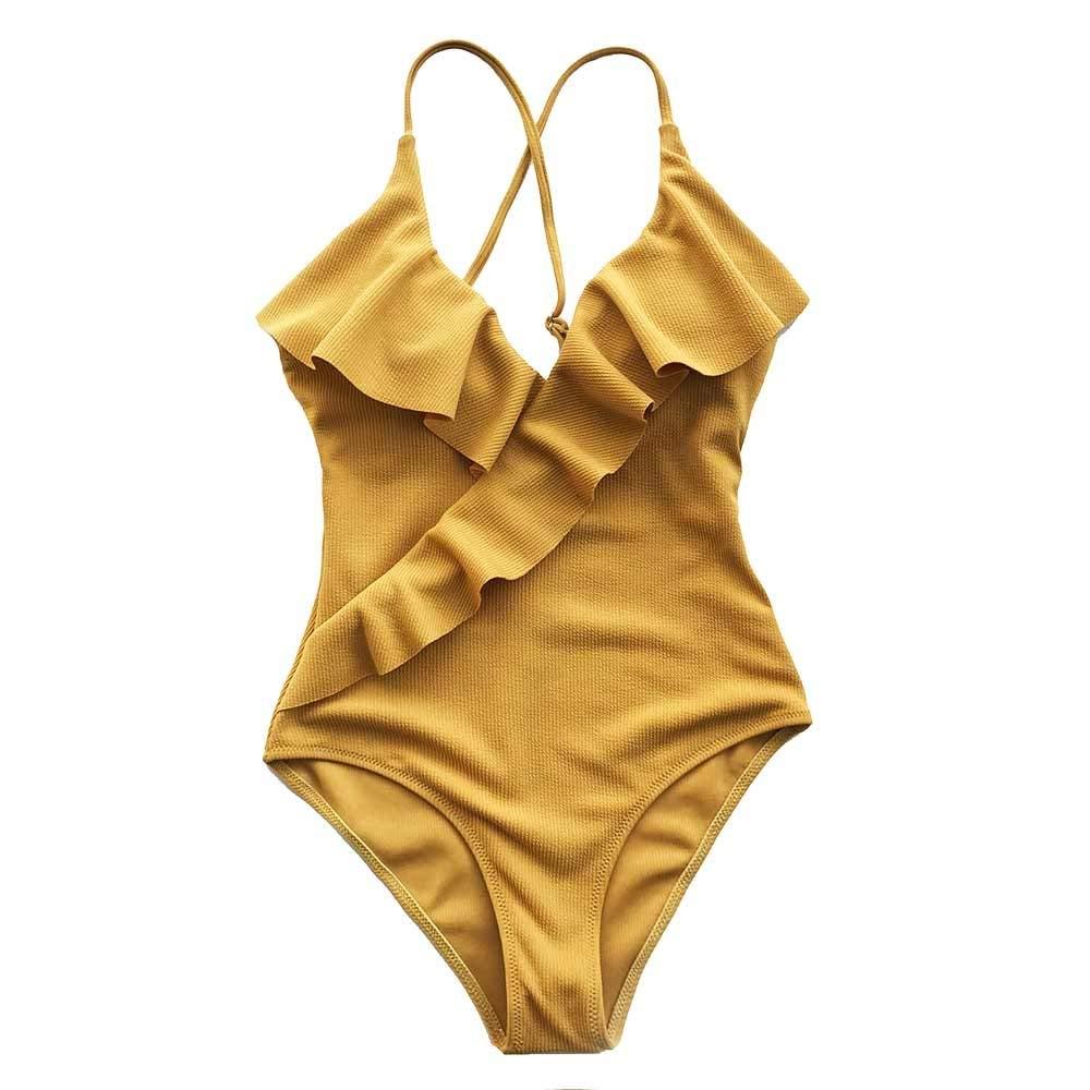 DeemoShop Yellow Solid One-piece Swimsuit Falbala V neck Ruffle Sexy Bikini Ladies Beach Bathing Suit Swimwear