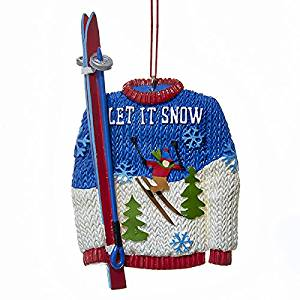Kurt Adler Let It Snow Sweater And Skis Resin Christmas Ornament