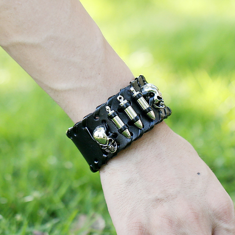 2016 new product hot selling wholesale skull and bullet leather handmade bracelets