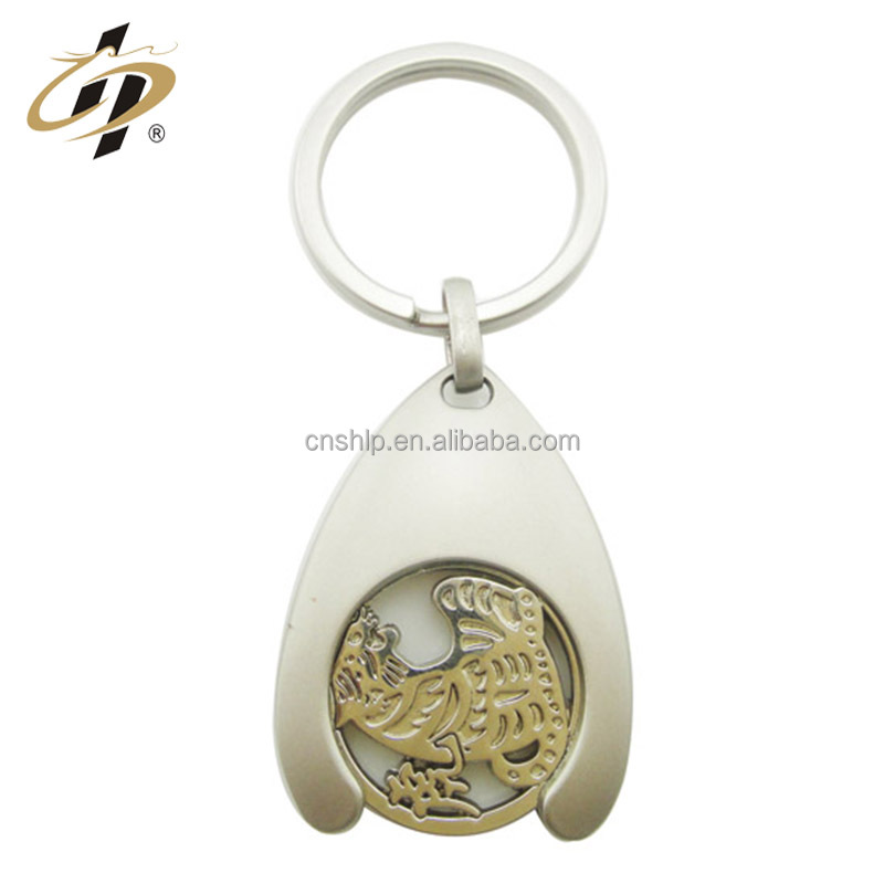 Wholesale Shopping Trolley Euro UK Coin Token Holder Keyring Keychain