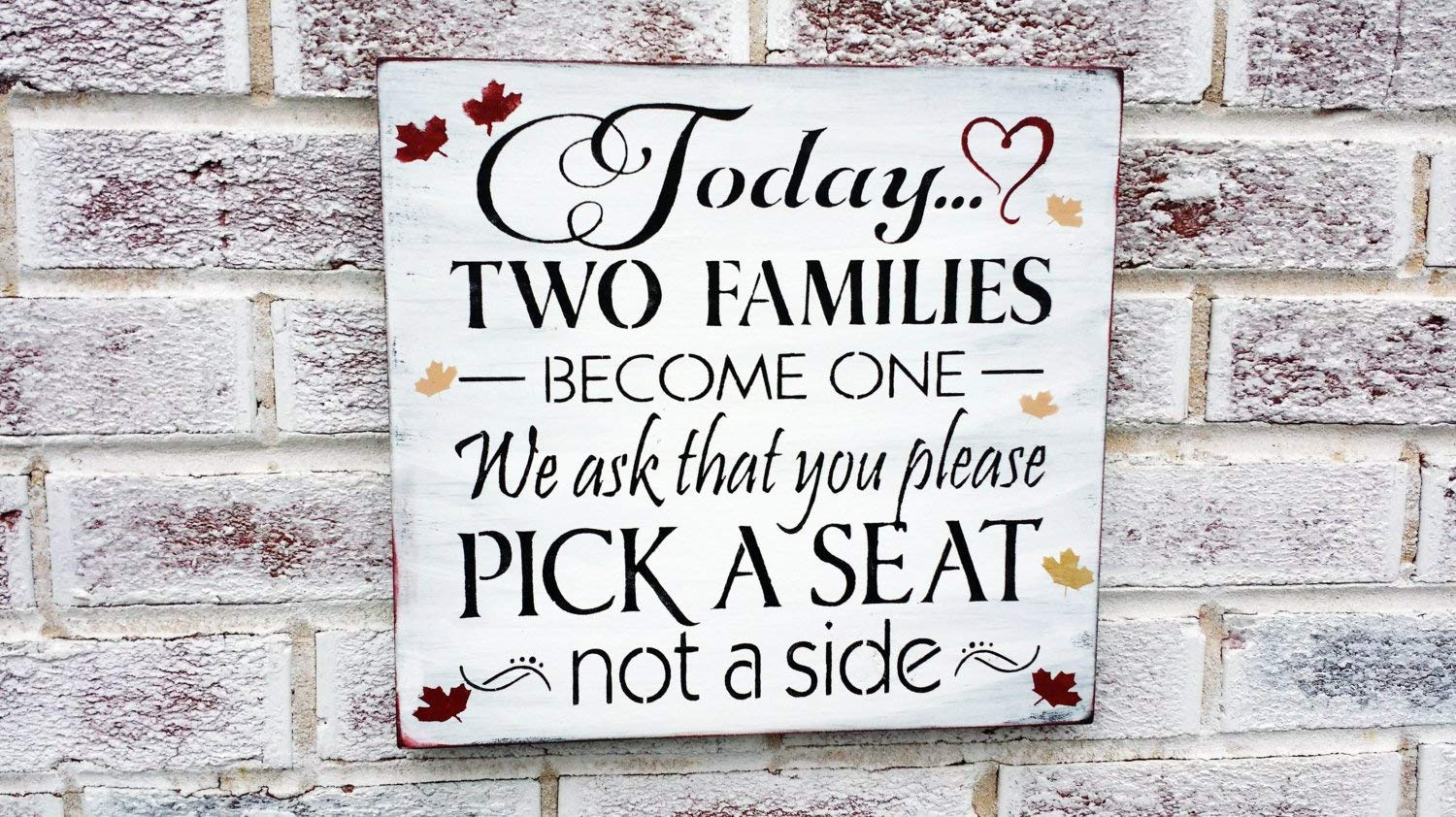 Open Seating Signage UNFRAMED Open Seating Signs Wedding Seating Sign Your Choice of Size and Color Print Sign Choose a Seat Not a Side Sign Today As Two Families Become One