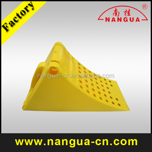 Yellow Plastic Truck Wheel Chocks with Bracket