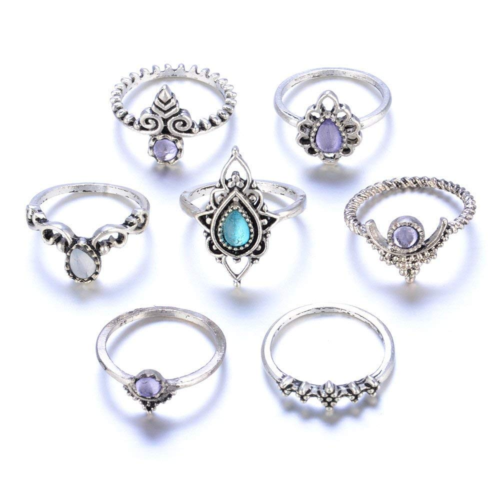 Axiba Sterling Silver Women's Round Ring,7pcs/Set Women Bohemian Vintage Silver Stack Rings Above Knuckle Blue Rings Set